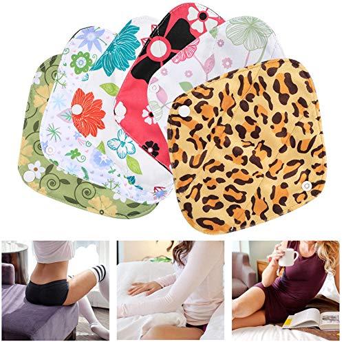 Wiederverwendbare Tuch Menstruation Pads (Tragbare Mini-Reise-Set - 1 Stück waschbar nass Tasche + 6 Stücke saugfähige wiederverwendbare waschbare Tuch Sanitär Menstruation Pads Slipeinlage)