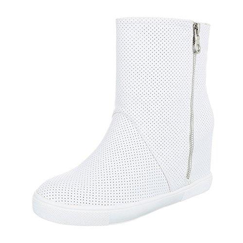 Ital-Design Keilstiefeletten Damen-Schuhe Plateau Keilabsatz/Wedge Keilabsatz Reißverschluss Stiefeletten Weiß, Gr 38, 6373-Y-