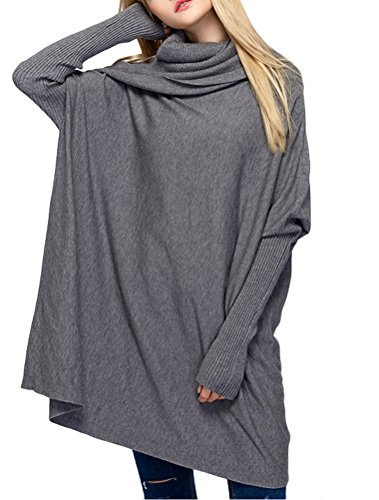Vogstyle Damen 2017 Herbst/Winter New Piles Kragen Rib Knit Pullover, Style 1 Grau, Fit EU 36-44