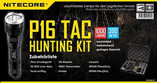 Preisvergleich Produktbild Nitecore P16TAC Jagdset - inkl. Ladegerät, Li-Ion Akku, 2 Farbfilter, Fernschalter