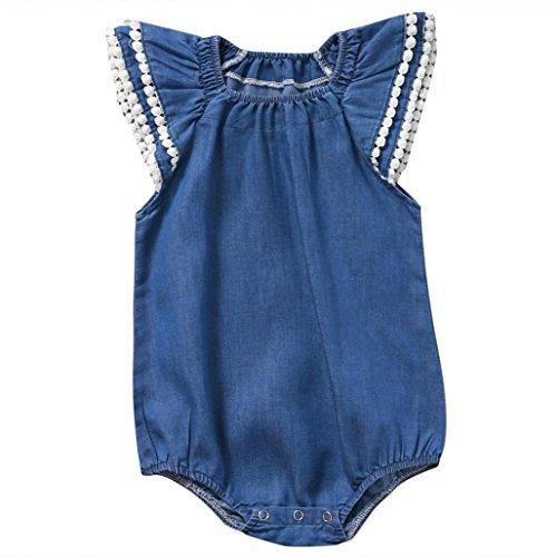 Bekleidung Longra Säugling neugeborenes Baby Kinder Mädchen Spitzen Butterfly Sleeve Kurzarm solide Sommer Strampler Overall Trägerkleid Outfits Kleidung (0-3Jahre ) (95CM 2Jahre, Blue) (Sleeve 18.5)