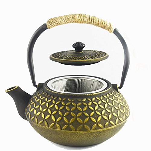 Hwagui teiera tetsubin con infusore set te giapponese teiere bollitore in ghisa 0,6 litro/600ml, d'oro