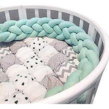 Bebé cuna para bebés Bumper Pads anudada trenzada felpa Nursery Bed Safety Rail Guard, cuna