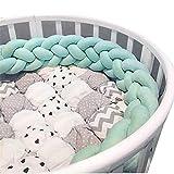 Baby Infant Krippe Bumper Pads verknotet geflochten Plüsch Kindergarten Bett Sicherheit Rail Guard, Cradle Protector, Kinderbett schlafen Kissen, Knot Ball, grün, 2m