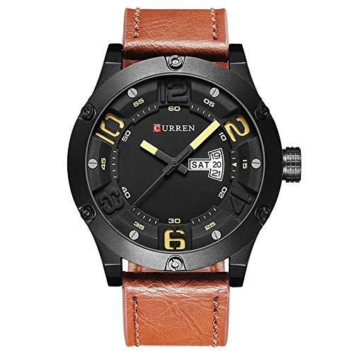 Herren Multifunktionsuhr Mode Kreatives Design Lederband Quarz Herrenuhren Display Datum und Woche wasserdichte Armbanduhr Masculino Reloj Hombre