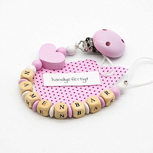 Baby Schnullerkette mit Namen - Würfel, Perlen, Linsen & Motiv aus Holz - Mädchen - Herz - rosa / weiß - bis zu 7 Holzbuchstaben - mit Silikonring - günstig