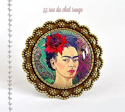 grosse Bague Cabochon 25 mm Cabochon Frida Khalo, portrait femme, Mexique, Coloré