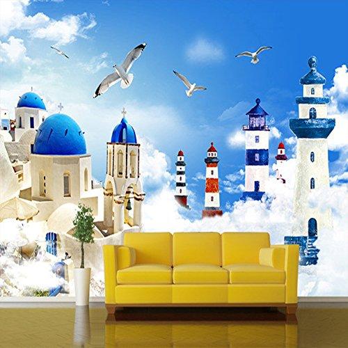 Foto Stile Mediterraneo Cartoon Faro Gabbiani TV Sfondo Muro Pittura Decor Camera dei Bambini Murale Carta da Parati 3D-280x200cm