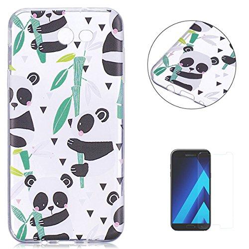 KaseHom Case for(Galaxy A510/A5 2016) Cas de TPU Clair Cristal[gratuit Protecteur d'écran] Conception drôle d'anime Ultra Mince Doux Couvercle de pare-choc en caoutchouc-Panda en bambou