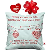 Indibni Valentine Day Gift Love Quote Hearts On A String White Cushion Cover 16x16 inch - Gift for Boyfriend, Girlfriend, Birthday, Wife, Husband, Anniversary