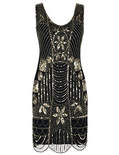 PrettyGuide Damen 1920er Gatsby Art Deco ¨¹berbackene Saum Flapper Charleston Kleider XXL Gold