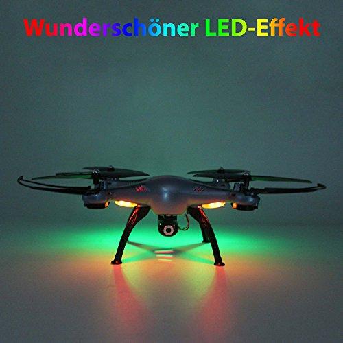 X5HC PRO - 4.5-Kanal Drohne Quadrocopter mit HD Kamera, Höhenbarometer, Headless, opt. WIFI FPV, 2x Akku, Zubehör, Crash-Kit - 4
