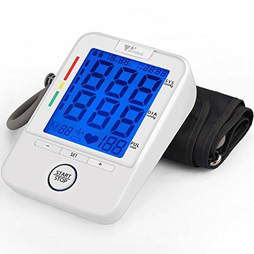 Amzdeal Blutdruckmessgerät - Oberarm Blutdruckmessgerät automatische Blutdruck- und Pulsmessung, präzises Großbild LCD-Display und 2 Benutzer Modus 2 * 90 Speicher (Weiß)