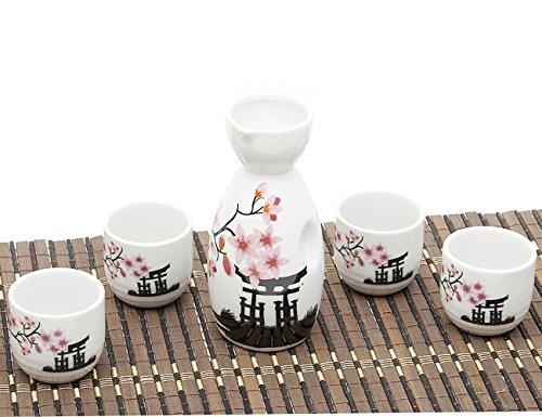ankoow Juego de sake japonés con cuatro tazas estilo de porcelana flor rosa pintada cerámica tradicional cerámica Crafts-Copa de vino