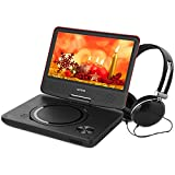 WONNIE 9,5' Lecteur DVD portable avec un écran rotatif 270°, Carte SD et prise USB avec charge directe Formats / RMVB / AVI / MP3 / JPEG, Parfait pour Enfants (Rouge)