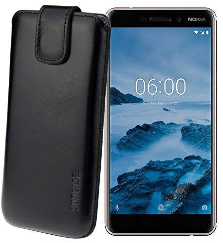 Suncase Original Etui Tasche für Nokia 6 (2018) | Nokia 6.1 *Lasche mit Rückzugfunktion* Handytasche Ledertasche Schutzhülle Case Hülle in Schwarz