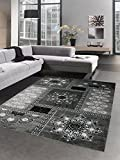 Carpetia Designer Teppich Wohnzimmerteppich Ornamente Glitzer Creme Grau Schwarz Größe 120x160 cm
