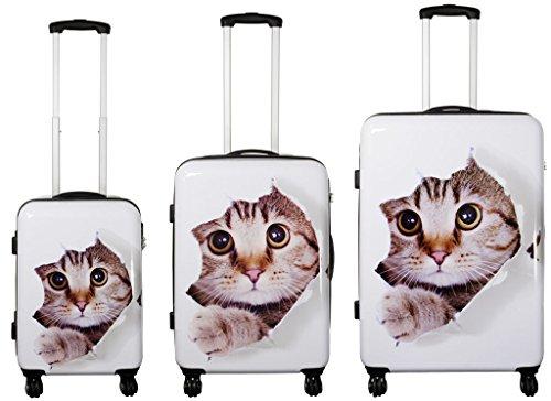 Hartschalenkoffer Reisekoffer Koffer Kofferset 3-teilig Katze Weiß