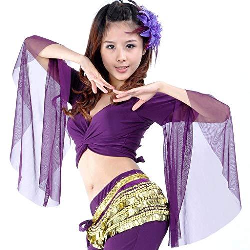 DANCER Stammes-Bauchtanz Yoga Kostüm Wrap Top, Top Für Weihnachten (Farbe : Lila, größe : One Size)