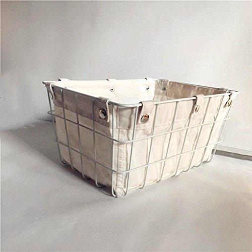 Ablagekorb Retro Eisen Kunst aufbewahrungskorb Kosmetik Bücher Spielzeug Snacks Lagerung Tisch Finishing lagerung Körbe mit Tuch, White High Quality Möbel Lagerung Körbe