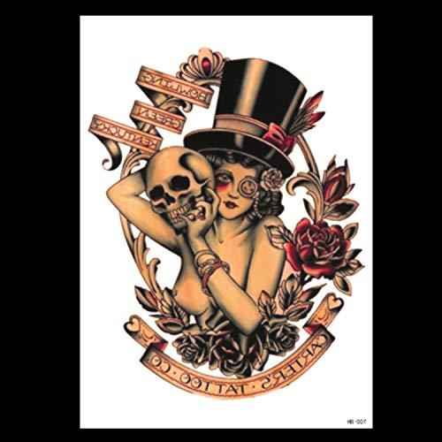 Kostüm 007 Girl - HXMAN Wasserdichte Temporäre Tattoo Aufkleber Voller Arm Big Old School Cool Girl Tatto Ärmel Flash Tatoo Fake Tattoo Für Männer(2 Pack) HB-007