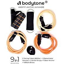 Bodyband ToneX Resistance Latex Toning Tube, 20lbs-100lbs, 10 Pack Set (Multi color)