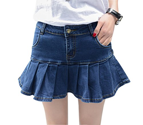 Wincolor Damen A-linie Rüschen Plissee Mini Denim Rock Skort with Boyleg Short (Denim Plissee-rock)