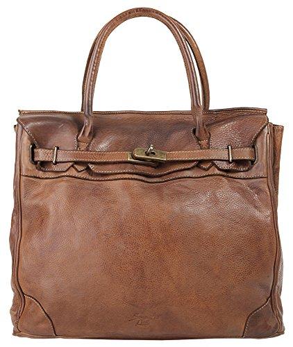 SAMANTHA LOOK Shopper ECHT LEDER cognac Damen, Herren Groß 017764 (Vintage Birkin Bag)