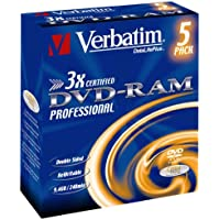 Verbatim DVD-RAM 3x Speed Cartridge Type 4 Double Sided (removable) 5er Pack 9,4GB DVD-Rohlinge