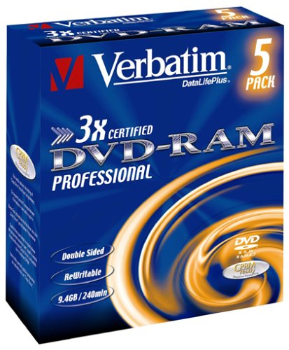 Verbatim DVD-RAM 3X Speed Cartridge Type 4 Double Sided (Removable) 5er Pack 9,4GB DVD-Rohlinge (Dvds Fernsehen,)