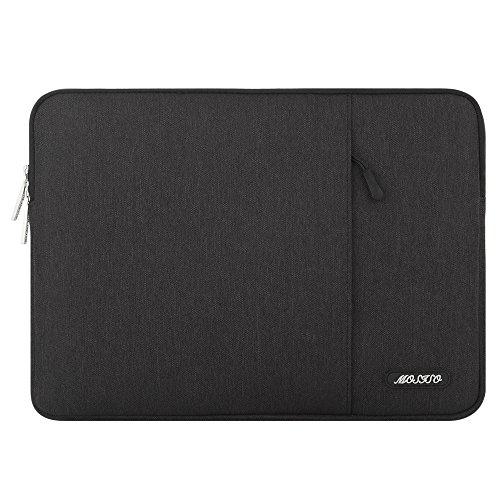 MOSISO Hülle Kompatibel 15 Zoll MacBook Pro A1990 / A1707 Touch Bar 2019 und 2018 und 2017 und 2016, 14 Zoll ThinkPad Chromebook, Polyester Wasserabweisend Vertikale Stil Sleeve Laptoptasche, Schwarz