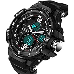 Eastlion Creative High-End Men's 3 Pointer Fashionable Outdoor Mountain Climbing and Diving 50M Depth Waterproof,Shockproof Ajustable Multifunctional Digital Quartz Wrist Watch with Nightlight