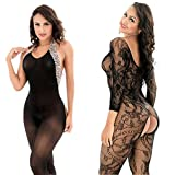 LOVELYBOBO 2 Pack Womens Sexy Lingerie Bodysuits Open Crotch Fishnet Mesh Bodystockings Suspender Black