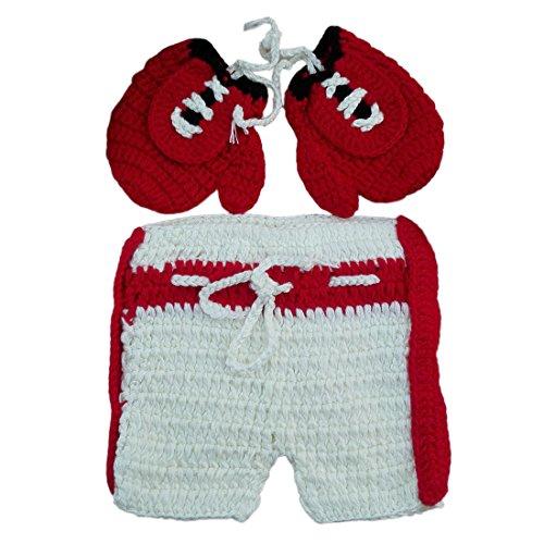 Feoya Kinder Baby Foto Kostüm Set Boxen Kämpfer Fotografie Prop Neugeborene Handarbeit Bekleidungsset Baby Junge Mädchen Stricken Fotoshooting Set Für 1-12 Monate - Rot Weiß