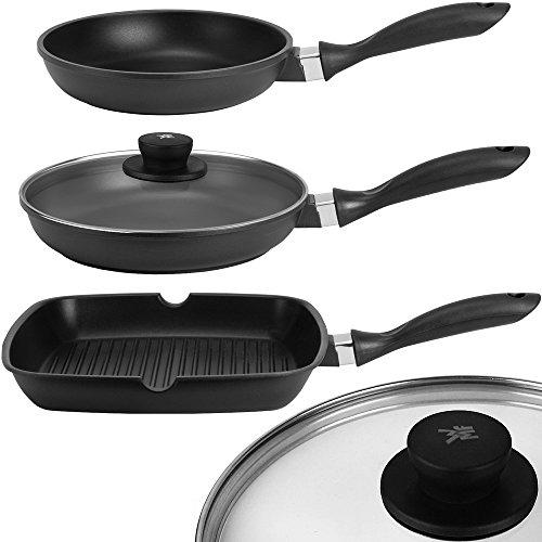 Grill-deckel (GSW 4tlg Pfannenset Gusseisen Bratpfanne Steakpfanne WMF Deckel Grill Pfanne 28cm)