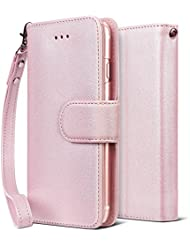 Funda iPhone 7 Plus, SAVFY® Funda Cascara Case de Cuero con Soporte Plegable con Correa de Mano para Apple iPhone 7 Plus 2016 Rosado