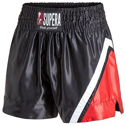 Supera Muay Thai Short Performance. Thaiboxhose für Training und Wettkampf. Kickboxhose mit elastischem Bund und weitem Schnitt. Perfekte Passform für MMA, BJJ, Kickboxen, Thaiboxen und Grappling! (Thai Shorts Muay)