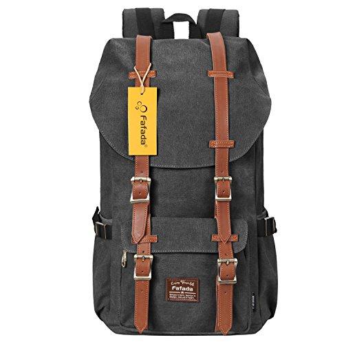 Rucksack Herren Retro Fafada Vintage Rucksäcke Canvas Laptoprucksack Schultasche Daypack 17 Zoll Laptoprucksack Uni Backpack für Outdoor Sports Freizeit Dunkelgrau
