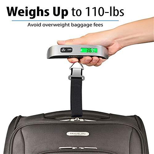 Wawer Digitale Gepäckwaage, Magischer hängender Gepäck-Skala-Gummifarbe-Digital-Temperaturfühler 110 Pfund / 50kg Kapazität