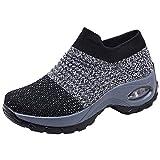 Rioneo Sneakers Damen Sportschuhe Laufschuhe Bequem Turnschuhe Air Leichte Höhe Erhöhen Mesh Socks Slip On Outdoor Walking Schuhe Schwarz Grau Lila 35-42 Grau 35