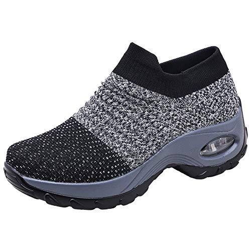 Sneakers Damen Sportschuhe Laufschuhe Bequem Turnschuhe Air Leichte Höhe Erhöhen Mesh Socks Slip On Outdoor Walking Schuhe Schwarz Grau Lila Rot Weiß 35-43 Grau 40