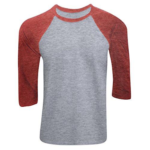 Canvas Herren Baseball T-Shirt, 3/4-Ärmel (Large) (Grau/Hellrot) -