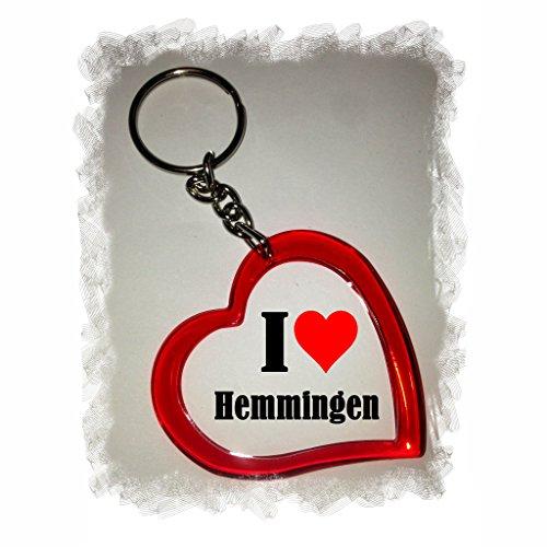 Druckerlebnis24 Herzschlüsselanhänger I Love Hemmingen, eine tolle Geschenkidee die von Herzen kommt  Geschenktipp: Weihnachten Jahrestag Geburtstag Lieblingsmensch