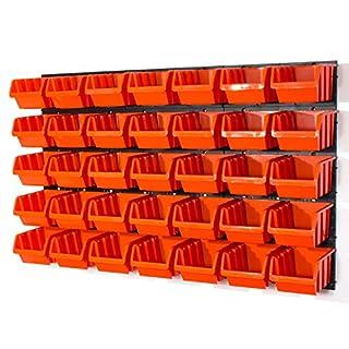 41 tlg. Wandregal Regal InBox Gr.4 orange Werkstatt Lochwand Stapelbox Steckregal