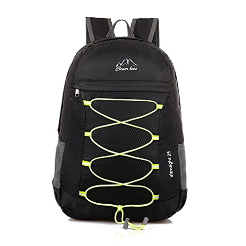 Ultra Lightweight Unisex Foldable Packable Outdoor Sport Bag Travelling Climbing Hiking Cycling Backpack/Rucksack/Daypack for Men and Women (Black)
