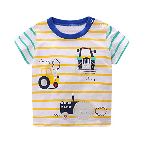 KaloryWee Unisex Kids Boys Tops Pullover Sweater Blouse Cartoon Cars Printed Slim Stripe Short Sleeve T Shirts Jumpers Sweatshirts Clothes 1 2 3 4 5 6 Years