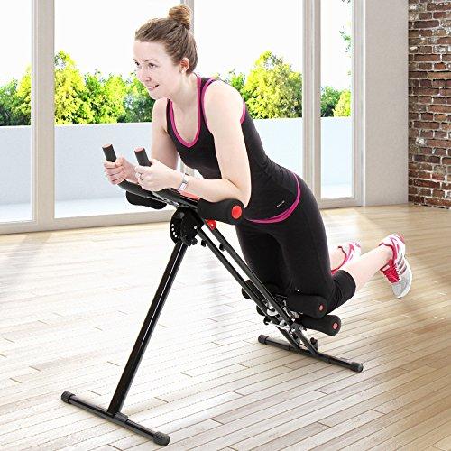 Physionics AB Plank Trainer | Bauchtrainer mit Trainingscomputer und LCD-Display | max. Belastungsgewicht: 100 kg, Farbe: Rot | Rückentrainer, Fitness Shaper, Fitnessgerät, Kraftsport, Cardio