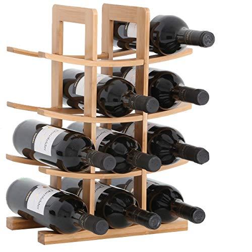 Gräfenstayn 30551 Botelleros PORTO - apilable de madera de bambú para 12 botellas de vino- tamaño 30x16x42 cm (LxAnxAl) portabidones de vino