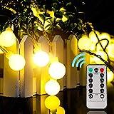 Guirnaldas luces 10 m 100 LEDs Luz exterior impermeable 8 Modos con Control Remoto para Dormitorio,Jardines,Boda,Cumpleaños,Fiesta de Navidad (blanco cálido)