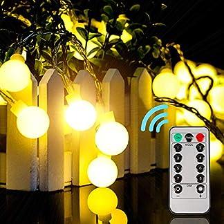 Guirnalda luces Navidad decoracion Cadena de luces impermeable 10 m 100 LEDs 8 Modos con Control Remoto para Dormitorio,Jardines,Boda,Cumpleaños (blanco cálido)